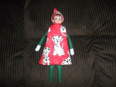 Christmas Elf doll dress and hat red and white with dogs on it by on Etsy Christmas Elf Doll, Red And White, Dolls, Holiday Decor, Unique Jewelry, Hats, Handmade Gifts, Vintage, Baby Dolls