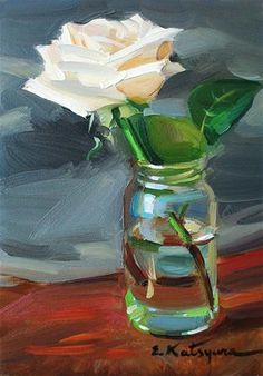 """Rose in a Jar"" - Original Fine Art for Sale - © Elena Katsyura"