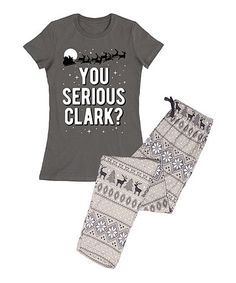 42394a189dd Charcoal Fair Isle  You Serious Clark   Pajama Set - Women
