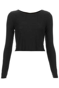 Long Sleeve Skinny Rib Crop Top - Tops - Clothing