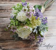 Garden Bouquet in Cream and Lavender - Lilacs, Peonies, Garden Roses, Dahlias, and Dusty Miller. High Quality Silk Bouquets by blueorchidcreations, $120.00 In stock! Check out our Etsy Shop: www.blueorchidcreations.etsy.com Need Different Colors? We LOVE custom orders! Send us a message and we'll create your dream bouquet!