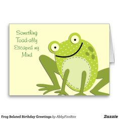 70 best cards birthday belated images on pinterest in 2018 frog belated birthday greetings card m4hsunfo