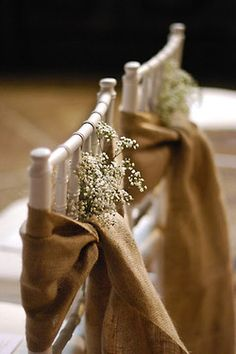 DIY WEDDING ~ burlap simple flowers. Mom's idea is lavender (to be thrown instead of rice) and cones of sheet music on chairs instead of burlap #CupcakeDreamWedding