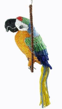 beaded wire art animal figurine - macaw figurine