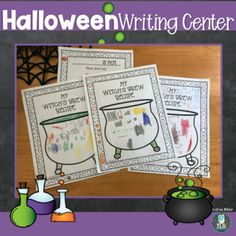 Writing Center--The Bubbling Cauldron by Andrea Miller | TpT Halloween Theme Preschool, Halloween Themes, Writing Lines, Pre Writing, Writing Center Preschool, Dramatic Play Centers, Vocabulary Cards, Play Centre, Early Literacy