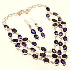 Long Necklaces – Multi Layered Necklace Set With Iolite Gem stones  – a unique product by IndianCraftPalace on DaWanda