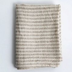 Fog Linen Chambray Towels: Natural Stripe