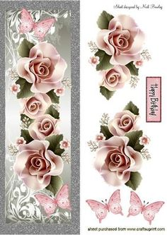 CASCADING PINK ROSES BUTTERFLIES TALL DL on Craftsuprint designed by Nick Bowley - CASCADING PINK ROSES