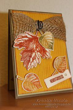 Stampin' Up!, Herbstkarte, Blätter, Band, Stempel, Framelits