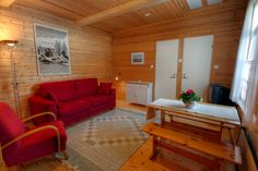 Living room with sauna downstairs in the two level appartment rooms of Saija Lodge, Jokijärvi, Taivakoski, Kuusamo Lapland, Finland Holidays In Finland, Farm Holidays, Cosy Apartment, Lapland Finland, Log Homes, Traditional House, Cabins, Cottages, Two By Two