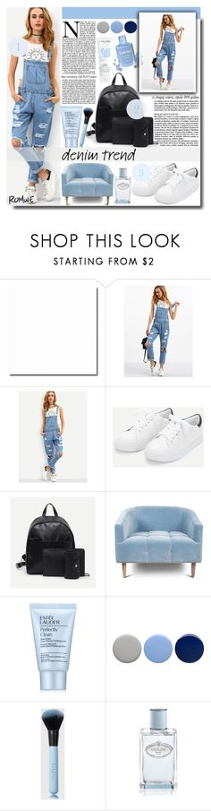"""""""Cutout Ripped Denim Dungarees"""" by fashiondiary5 ❤ liked on Polyvore featuring Estée Lauder, Burberry, Prada, Lancôme and romwe"""