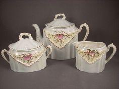 Lovely Child's Tea Set Porcelain with Delicate Blue Glaze