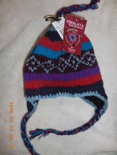 HAT HIMALAYA COLLECTION HANDCRAFT 100% WOOL TEAL RED BLUE PURPLE NEW WITH TAGS #HIMILAYAHANDCRAFTCOLLECTION #TRAPPER