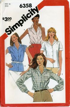 Simplicity 6358 Ladies button up blouse pattern size 16 date 1980s