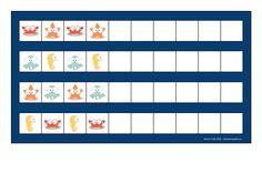 Board for the ocean paterning game game. Find the belonging tiles on Autismespektrum on Pinterest. By Autismespektrum