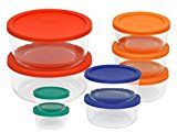 Pyrex 1110141 18 piece Glass Food Storage with Multi-colored Lids - very useful