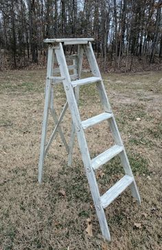 """Rustic wood ladder in off-white.  Great for a memory """"table"""" area, place cards, and more."""