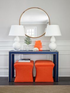 10 Positive Cool Tips: Square Wainscoting Craftsman Style wainscoting door benjamin moore.Wainscoting Door Home waynes coating wainscoting hallways. Studio Mcgee, Consoles, Decor Interior Design, Interior Decorating, Hallway Decorating, Console Table Styling, Console Tables, Table Mirror, Orange Paint Colors