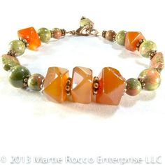 Carnelian faceted nugget bracelet with Unakite and copper 307BR | MartieRocco - Jewelry on ArtFire