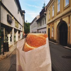 Hungarian chimney cake in Eger, Hungary