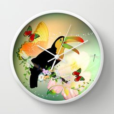 #Toucan with #flowers Wall #Clock by nicky2342 - $30.00