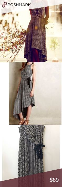 $148 Anthropologie Maeve Salsola High Low Dress Anthro Maeve Salsola Black Striped High Low Dress Anthropologie Dresses Asymmetrical