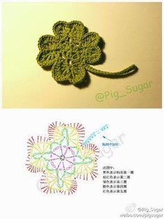 Crochet Motif Crochet Clover - Chart ❥ // hf by rosanna Crochet Diagram, Freeform Crochet, Crochet Chart, Crochet Motif, Irish Crochet, Diy Crochet, Crochet Stitches, Crochet Rugs, Appliques Au Crochet