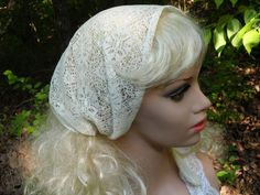 IVORY LACE Christian Head Covering,  Headband, Head Scarf, Church Chapel Headcovering, Prayer Head Cover, Head Veil, Soft Lace ,With Ties