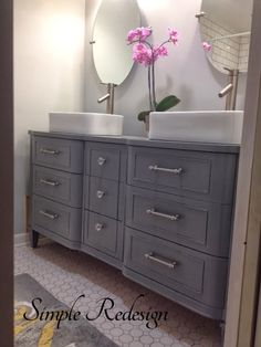 Turning A Dresser Into A Bathroom Vanity By Simple Redesign - Featured On Furniture Flippin'