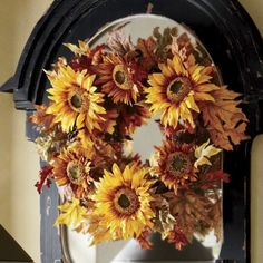 Sunflower Wreath from a catalog, but ridiculous price, so for me to make.