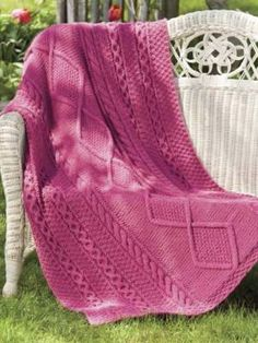 Easy Cable Throws Knit Knitted Afghan Patterns Blankets Knitting