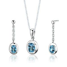 Sterling Silver Rhodium Finish 1.75 carats total weight Oval Shape Swiss Blue Topaz Pendant Earrings and 18 inch Necklace Set . $39.99. Save 71%!