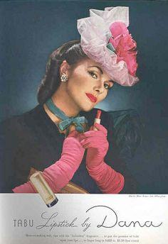 Tabu Lipstick by Dana (that glorious hat!).