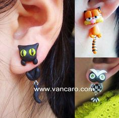 Sympathiques animaux en boucles d'oreilles, des chats, une chouette, etc... Dans le même style  : http://www.pinterest.com/pin/147070744056968094/  <**>Friendly animals earrings , cats, an owl, etc ..