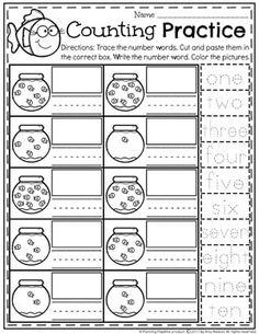 Number Words Worksheet for Kindergarten - Fish Bowl Counting Numbers Kindergarten, Kindergarten Math Activities, Preschool Math, Kindergarten Worksheets, Maths, Back To School Worksheets, Worksheets For Kids, Reading Worksheets, Number Words Worksheets