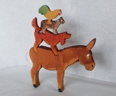CHILDREN :: Wood toy Bremen Town Musicians 3D Jigsaw / stackable wood farm animals - Swoop.ie - A haven for all things handmade in Ireland