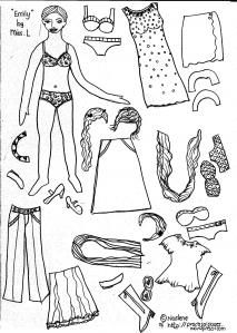 paper doll coloring pages,  many eras.  men and women