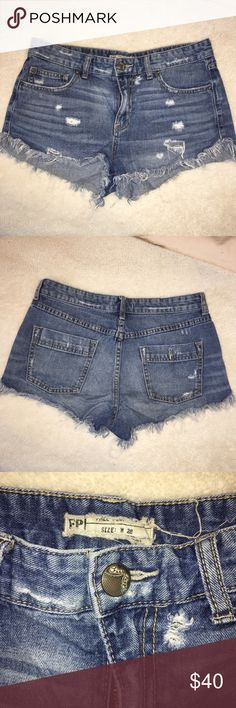 Free People Cutoff Jean Shorts Distressed denim cutoff jean shorts from Free People. Only worn a couple of times. Make offers! Free People Shorts Jean Shorts