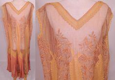 1920 Vintage Ecru Embroidery Net Lace Pink Silk Chiffon Chemise Drop Waist Dress   eBay
