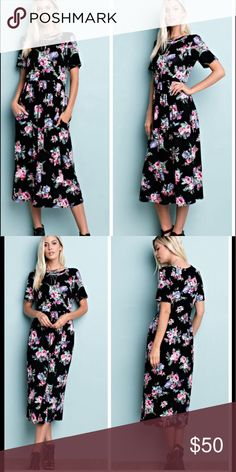 •floral maxi dress• Dress features floral print on black background. Short sleeves, round neck.  Material is 95% rayon and 5% spandex.  Small bust measures 32 inches, waist 27 inches, length 47 inches.  Medium bust measures 34 inches, waist 28 inches, length 47 inches.  Large bust measures 36 inches, length 37.5. ❌PRICE FIMR UNLESS BUNDLED❌ MAKENNA EXCHANGE Dresses Maxi