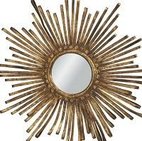 Ribbon Mirror-Gold mirror, sunburst, metal mirror, creative coop