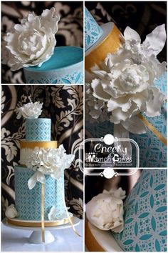 Wafer Paper Punched Wedding Cake Three Tier Cake, Wafer Paper, Paper Punch, Tiered Cakes, Wedding Cakes, Table Decorations, Cake Ideas, Wedding Stuff, Wedding Gown Cakes