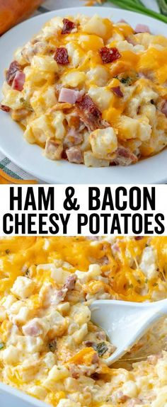 Ham & Bacon Cheesy Potatoes – The Perfect Cheesy Side Dish! Ham & Bacon Cheesy Potatoes – The Perfect Cheesy Side Dish!,Easy casserole recipes Hearty, creamy and flavorful these Cheesy Potatoes are filled with. Potato Dinner, Ham Dinner, Cooking Recipes, Healthy Recipes, Cooking Rice, Vegetarian Recipes, Cooking Beets, Sweet Cooking, Cooking Spoon