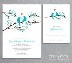 Love Birds Tree - Whimsical Spring Printable Wedding Invitation DIY. $20.00, via Etsy.