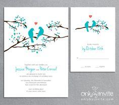 Love Birds Tree - Whimsical Spring Printable Wedding Invitation DIY. $20.00, via Etsy.