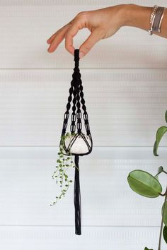 Single Mini Macrame Plant Hanger Ceramic Pot Set // Black
