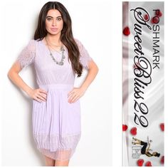 Lovely Lavender Dress This combination dress features lined eyelash lace bodice and pleated chiffon skirt. Has unlined lace sleeves. Several sizes available. Comes in S,M,L  ⭐️100% POLYESTER ⭐️S-M-L ⭐️Small Measures 32 inches in the bust ⭐️️️️️Medium measures 34 inches in the bust ⭐️️Large measures 36 inches in the bust Dresses