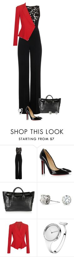 """""""Untitled #287"""" by xanita ❤ liked on Polyvore featuring Elie Saab, Christian Louboutin, Miu Miu, Red Herring, Alexander McQueen and Georg Jensen"""