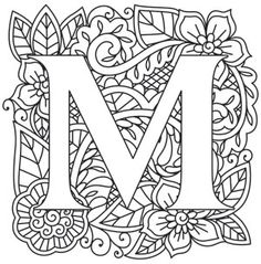 30 Ideas embroidery letters fonts urban threads for 2019 Adult Coloring Book Pages, Colouring Pages, Printable Coloring Pages, Coloring Books, Embroidery Letters, Paper Embroidery, Embroidery Stitches, Embroidery Designs, Alphabet Design