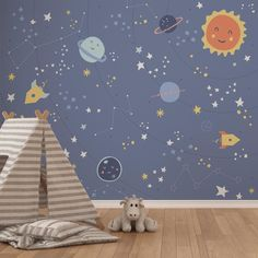 The Little Space Mural is an ideal finishing touch for a kids bedroom or nursery. Easy to apply, the high quality Mural will look great when used to decorate a . Kids Bedroom Wallpaper, Bedroom Murals, Bedroom Themes, Bedroom Ideas, Bedroom Decor, Kids Wall Murals, Murals For Kids, Blue Wall Stickers, Space Themed Nursery
